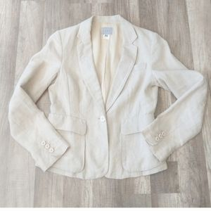 A D E C2 100% linen tan Blazer suit jacket sz 8